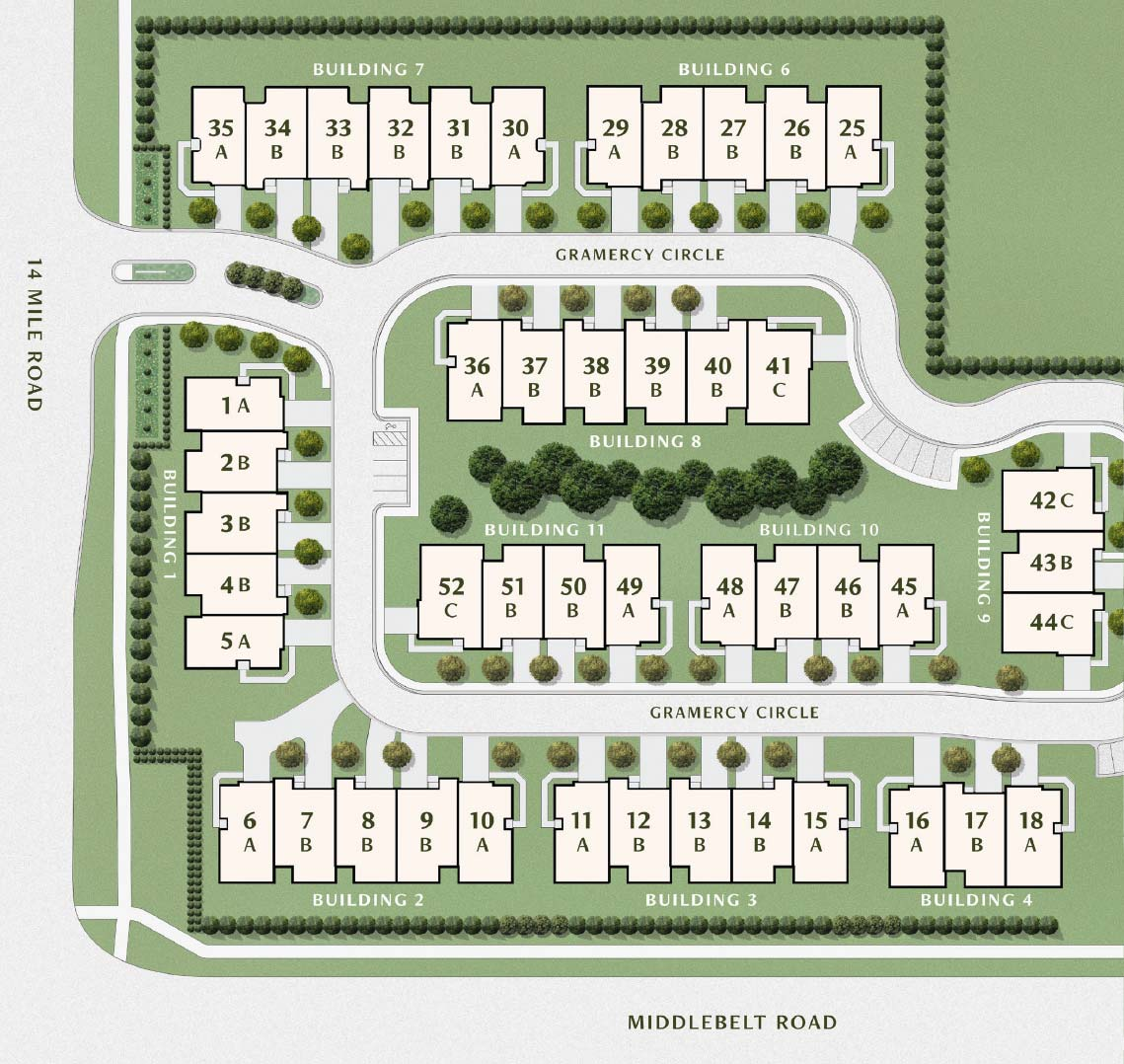 Gramercy Ridge Site Plan | West Bloomfield New Construction